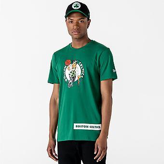 Uusi aika kausi ja NBA Block wordmark T-paita ~ Boston Celtics