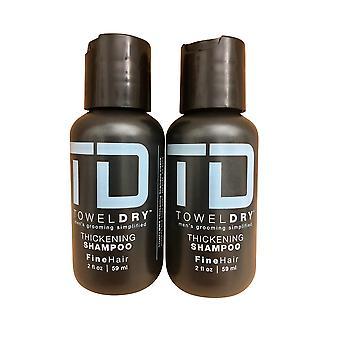TD Towel Dry Thickening Shampoo Fine Hair 2 oz Travel Set of 2
