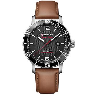Wenger Roadster Black Dial Brown Leather Strap Men's Watch 01.1841.105