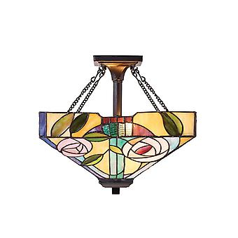 Willow Semi-ceiling Light, Glass And Metal