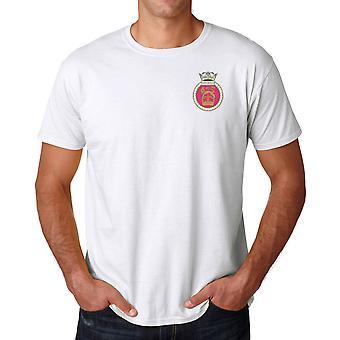 HMS Sovereign Stickerei Logo - offizielle königliche Marine Ringspun-T-Shirt