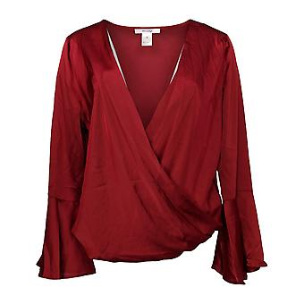 Masseys Women's Top Silky Wrap V-Neckline Dark Red