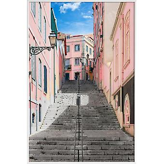 JUNIQE Print - Pink Stairway - Architectural Details Poster in Pink