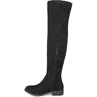 Brinley Co Womens Regular and Wide Calf Faux Suede Over-The-Knee Cut-Out Boots