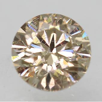 Cert 0.63 Carat Yellow Brown VS1 Round Brilliant Enhanced Natural Diamond 5.42mm
