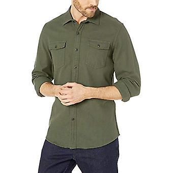 Essentials Heren's Slim-Fit Solid Flanel Shirt Met Lange Mouwen, Olive Heather, Large