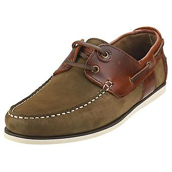 Barbour Capstan Mens Boat Shoes in Olive