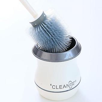 Toilet Brush Long Handle Soft Rubber Cleaning Brush With Base - Bathroom Cleaning Tool Bathroom Accessories