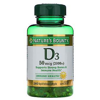 Nature's Bounty, D3, Immune Health, 50 mcg (2,000 IU), 240 Rapid Release Softgel