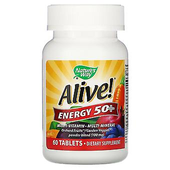Nature's Way, Alive! Energy 50+, Multivitamin-Multimineral, Adults 50+, 60 Table