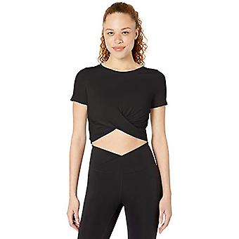 Core 10 Women's Soft Pima Cotton Stretch Twist Front Cropped Yoga T-Shirt, Black, Small