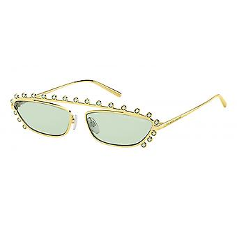 Sunglasses women's gold/green colored stones