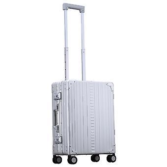 """ALEON International Carry-On Hand Luggage Trolley 21"""" Trolley 4 Wheels, 40 cm, 31.5 L, Silver"""