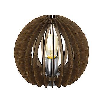 1 Lampa stołowa Lampa satynowa z ciemnobrązową podstawą z drewna, E27