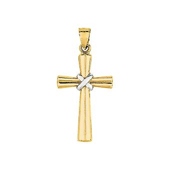 BH 5 Star Jewelry 14K Yellow+White Gold Shiny Textured Fancy Cross with White Figurine