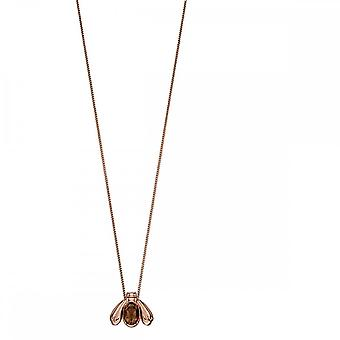 Elements Silver Rose Gold Plated Silver Smoky Quartz Bug Pendant P4677Y