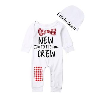 Newborn Baby Boys Cotton Autumn Long Sleeve Romper+hat Jumpsuit Clothes Pants Warm Outfits