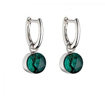 Fiorelli Silber Rose geschnitten grün Kristall Ohrringe E5839G