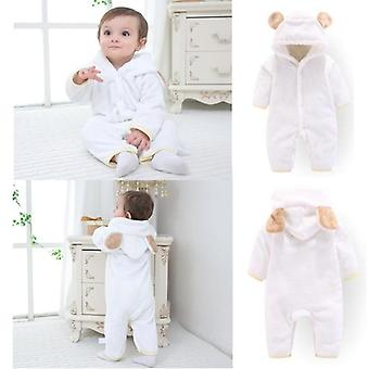 Newborn Baby Winter Clothes Infant Girls Soft Fleece Outwear Rompers Jumpsuit