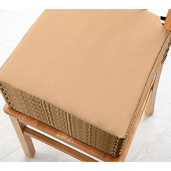 Beige 6pk Seat Pad Cushions with Secure Fastening Dining Kitchen Chairs Soft Cotton Twill