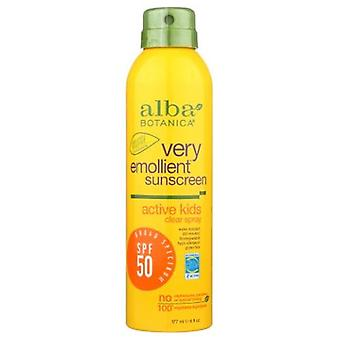 Alba Botanica Very Emollient Active Kids Clear Spray Sunscreen SPF50, 6 Oz