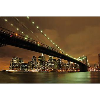 Tapetti Mural Brooklyn silta yöllä