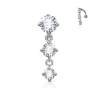 Belly button ring reverse design with three prong set round cz vertical drop