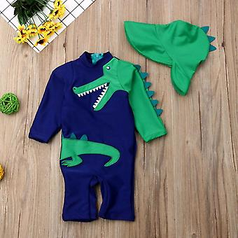 2pcs Dinosaur Swimsuit- Copii Dinosaur Surfing Beachwear Sun Protection