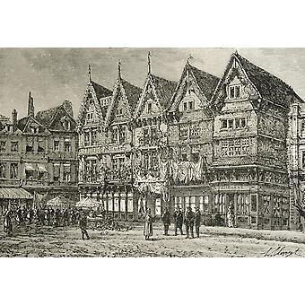 Old Houses In Valenciennes France In The 19Th Century From French Pictures By The Rev Samuel G Green Published 1878 PosterPrint