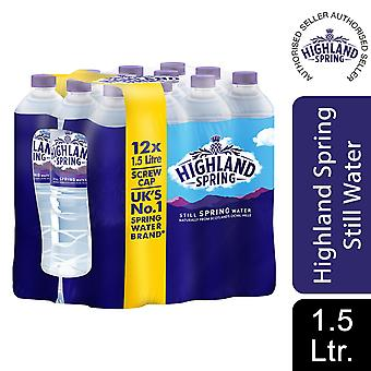 12x1.5L Highland Spring Still Spring Water Sports Botella, totalmente reciclable