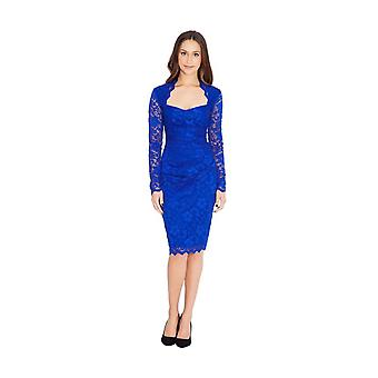 Long sleeve scalloped lace pencil midi dress
