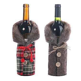 Två jul vinflaska sätter gitter vinflaska dekoration uppsättningar