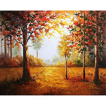 Frame Colorful Autumn Diy Painting By Numbers Kit - Landscape Modern Picture By