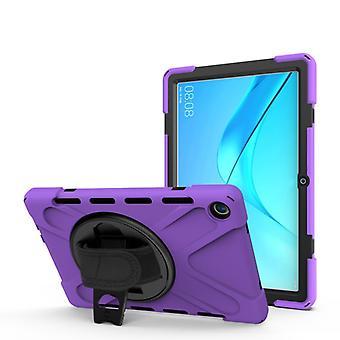 Huawei MediaPad M5 10.8 Iskunkestävä värikäs silikoni + PC suojakotelo pidikkeellä &; Kädensijahihna (violetti)