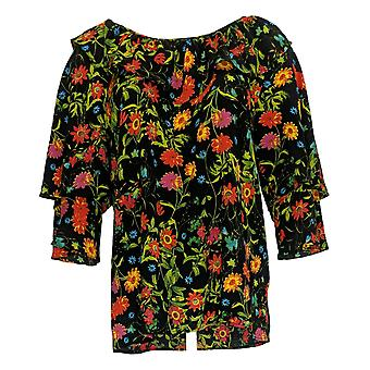 Linea By Louis Dell'Olio Women's Top 3/4 Sleeve Floral Print Black A349655