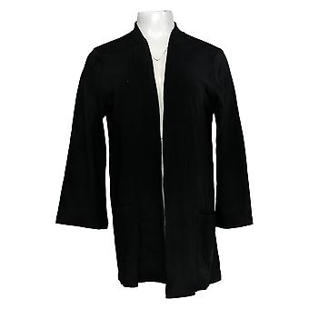 Isaac Mizrahi Live! Women's Top Pima Cotton Kimono Cardigan Black A368556