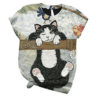Plus Größe Kurzarm 3d Tier gedruckt O-Ausschnitt Top T-shirt
