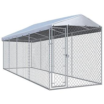 Outdoor dog kennel with canopy 7.6×1.9x2.4 m