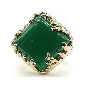 المرجان ملفوفة، أوت الأوزاح مربع محاكاة- الأخضر العقيقة الحجر خاتم