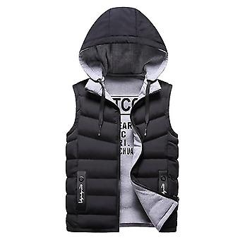 Mens Winter Down Vest, Casual Waistcoat Sleeveless Jackets, Hooded Worn On Both