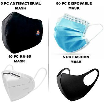 Face Mask Combo Pack - Kn95 / Disposable / Antibacterial / Fashion