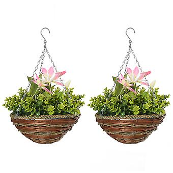 Outsunny Pack of 2 Artificial Clematis Flowers Hanging Planter Basket for Indoor Outdoor Decoration