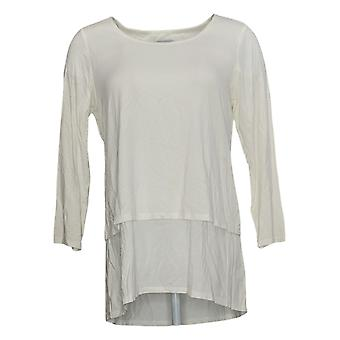 Joan Rivers Women's Top Jersey Knit Layered With 3/4 Sleeves Ivory A302582