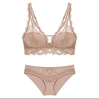 Women's Push Up Lace Underwear Panties Thin Breathable Bra Set