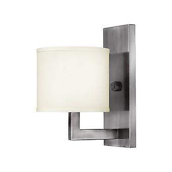 Lámpara De Pared Hampton, Níquel Antiguo Y Acrílico, Pantalla De Color Blanquecino, 1 Bombilla