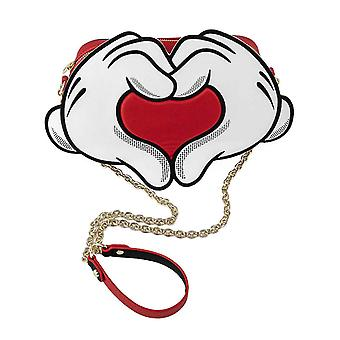 Loungefly Crossbody Bag Mickey Heart Hands new Official Red