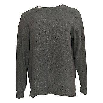 Cuddl Duds Women's Sweater Fleecewear Stretch Crew Pullover Gray A381759