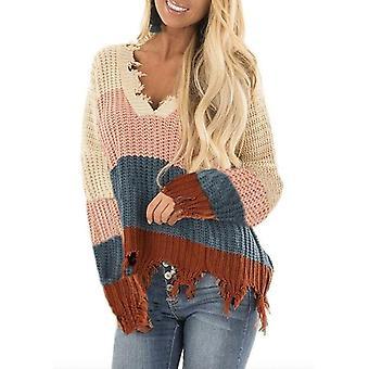 V-neck Patchwork Color Fringe Sweater
