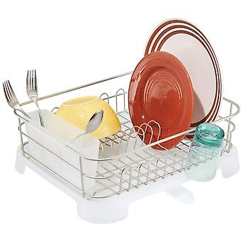 mDesign Dish Drainer with Drip Tray - Sink Dish Rack with Cutlery Basket - Cutlery, Glasses and Cups