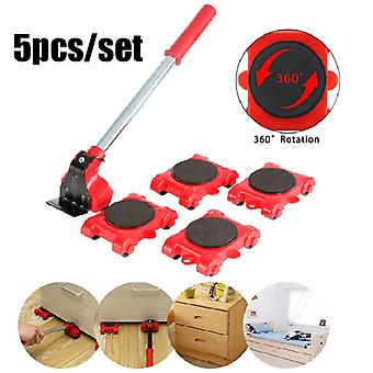 Furniture Mover Set Furniture Mover Tool Transport Lifter Heavy Stuffs Moving Wheel Roller Bar Hand Tools 5 Pcs Set